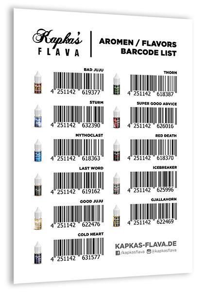 kapkas flava aromen flavors barcode list for download